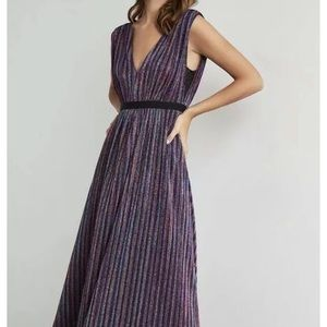 BCBG MAXAZRIA Metallic Stripe Gown Size L Large